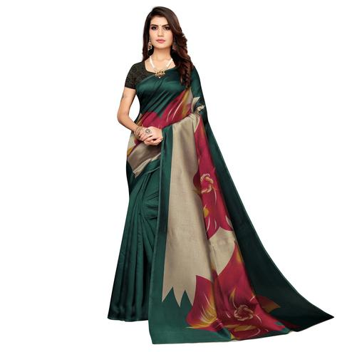 Desirable Teal Green Colored Casual Wear Printed Art Silk Saree