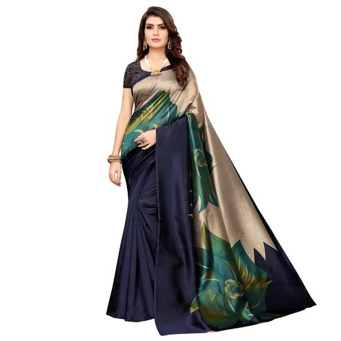 Trendy Navy Blue Colored Casual Wear Printed Art Silk Saree
