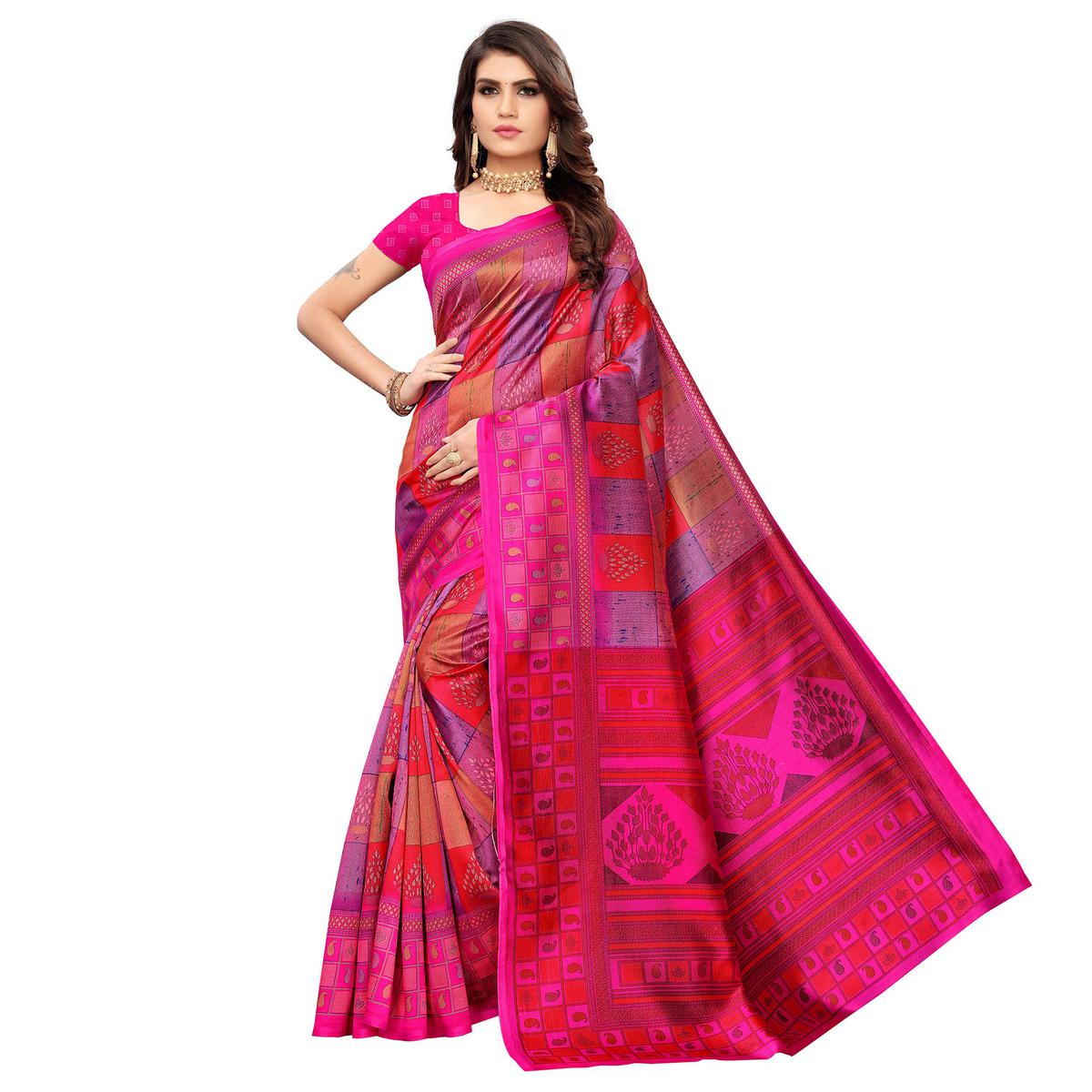 Groovy Pink Colored Casual Wear Printed Art Silk Saree