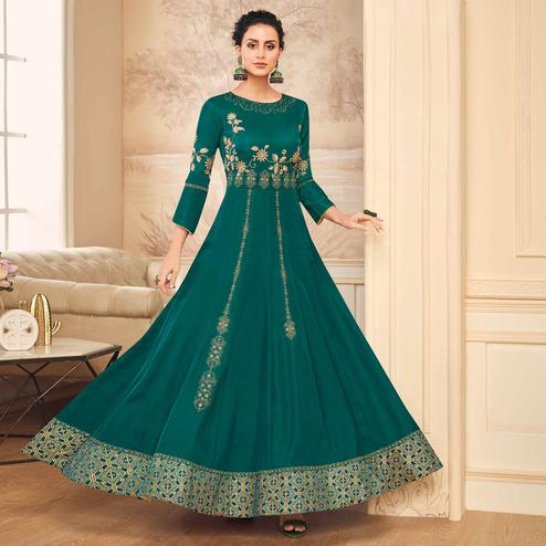 Imposing Teal Green Colored Partywear Embroidered Satin-Cotton Silk Gown