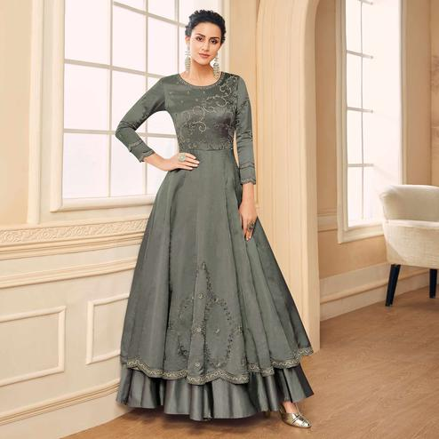 Lovely Grey Colored Partywear Embroidered Cotton Silk Gown