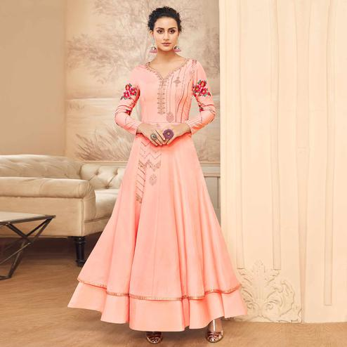 Majesty Pink Colored Partywear Embroidered Cotton Silk Gown