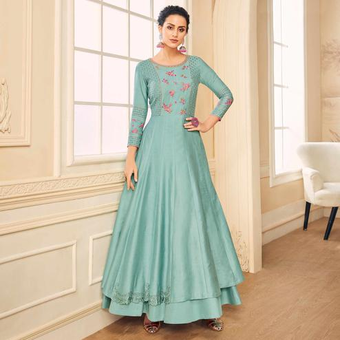 Impressive Light Blue Colored Partywear Embroidered Cotton Silk Gown