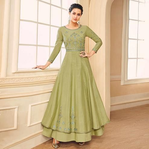 Mesmerising Olive Green Colored Partywear Embroidered Cotton Silk Gown
