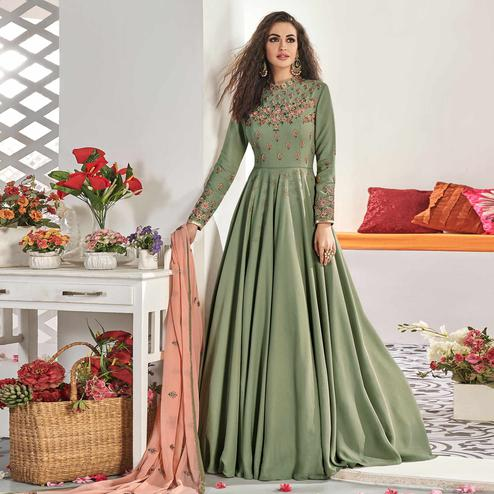 Flattering Light Green Colored Partywear Embroidered Viscose Silk Anarkali Suit
