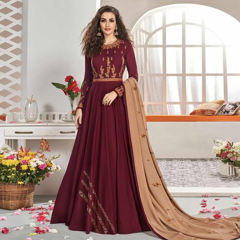 Excellent Maroon Colored Partywear Embroidered Viscose Silk Anarkali Suit