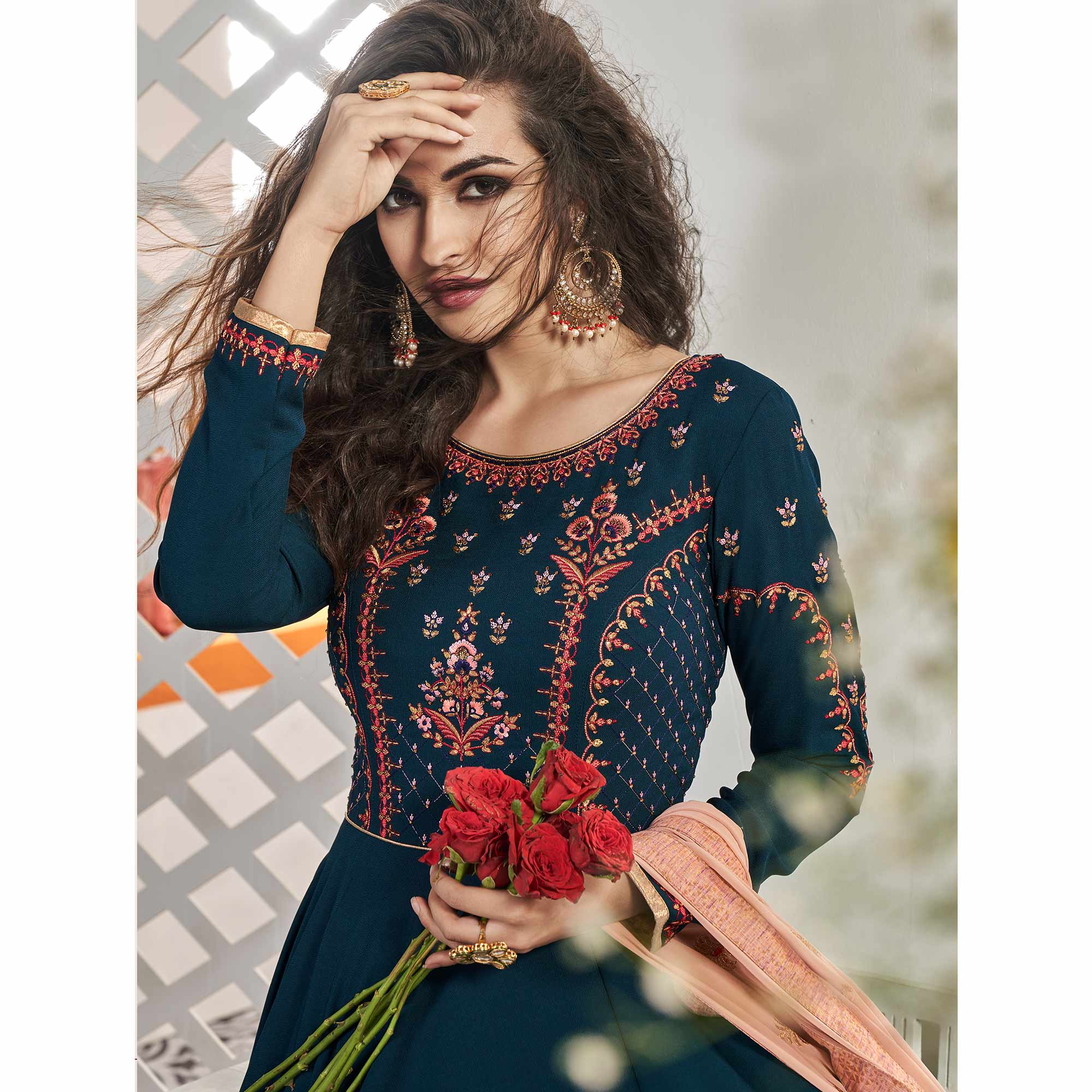 Preferable Navy Blue Colored Partywear Embroidered Viscose Silk Anarkali Suit