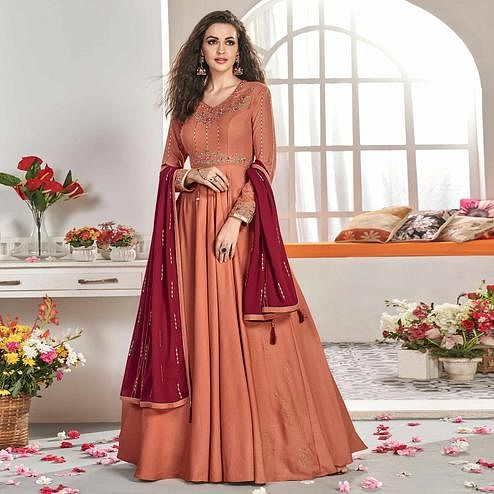 Marvellous Peach Colored Partywear Embroidered Viscose Silk Anarkali Suit
