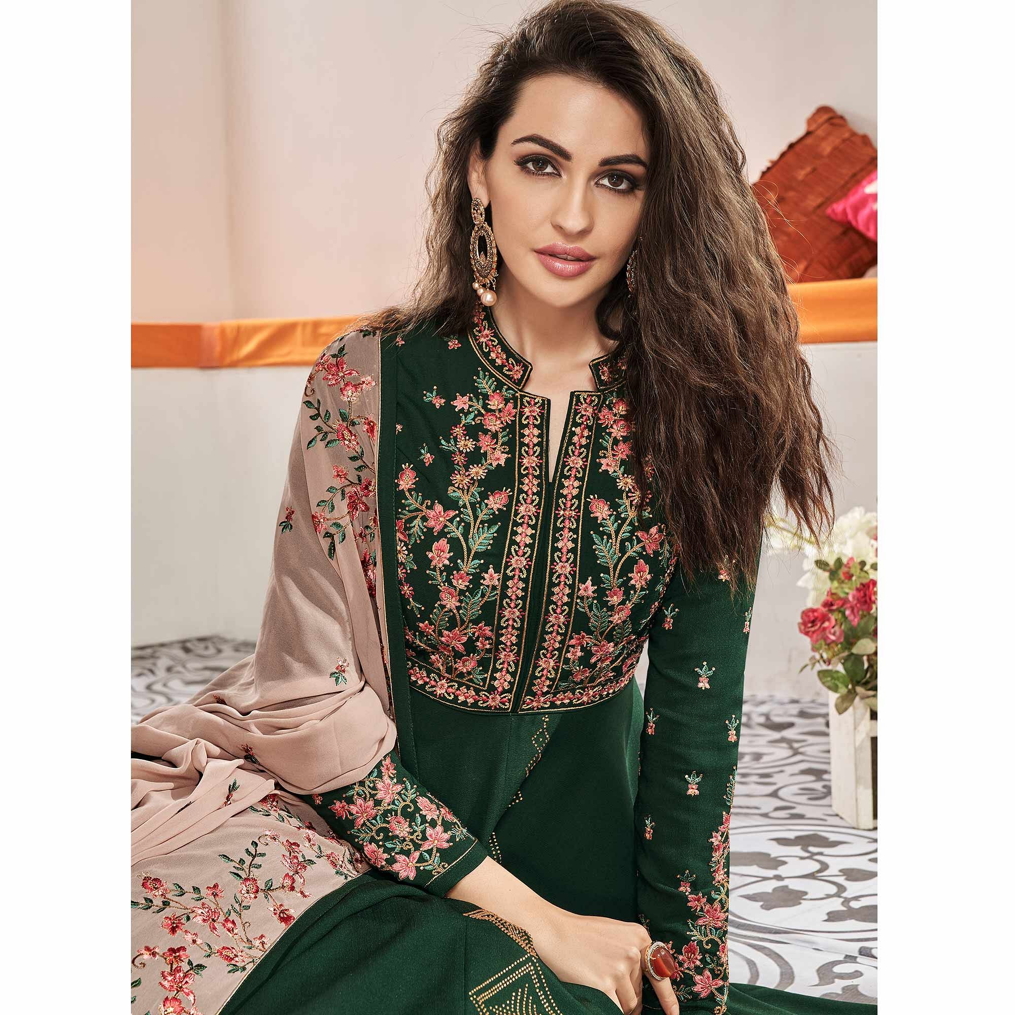 Flamboyant Dark Green Colored Partywear Embroidered Viscose Silk Anarkali Suit