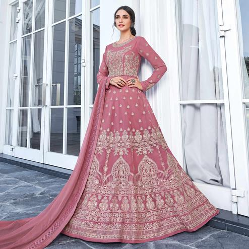 Impressive Pink Colored Partywear Embroidered Georgette Anarkali Suit
