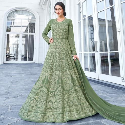 Mesmerising Olive Green Colored Partywear Embroidered Georgette Anarkali Suit