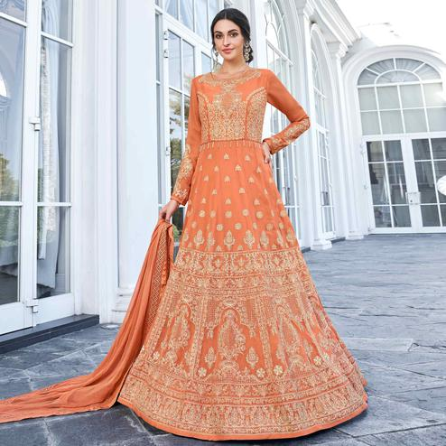 Pleasance Light Orange Colored Partywear Embroidered Georgette Anarkali Suit