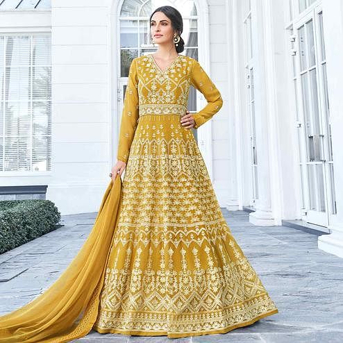 Breathtaking Mustard Yellow Colored Partywear Embroidered Georgette Anarkali Suit