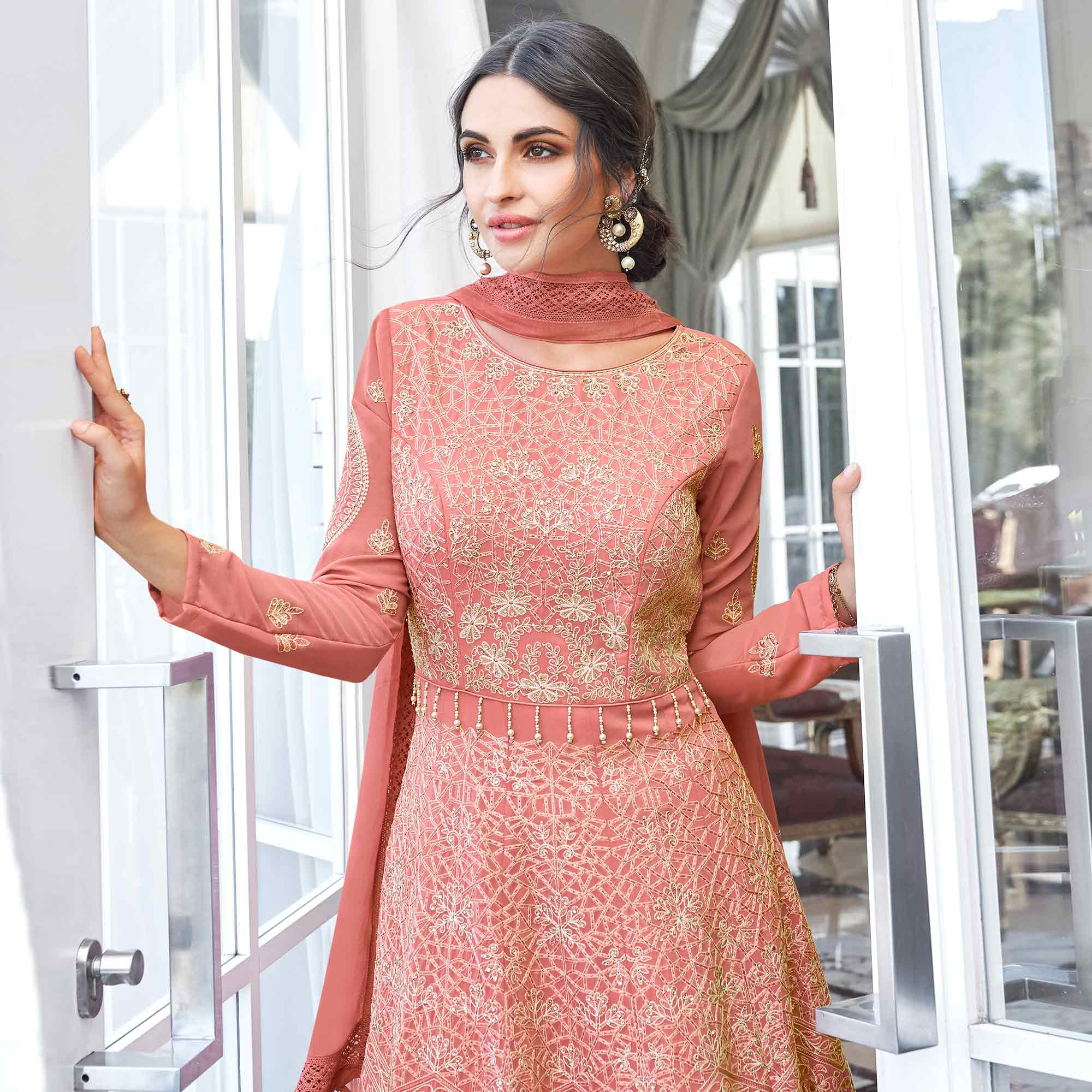 Ethnic Peach Colored Partywear Embroidered Georgette Anarkali Suit