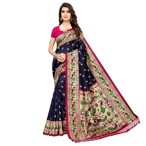 Jazzy Navy Blue Colored Festive Wear Printed Zoya Silk Saree
