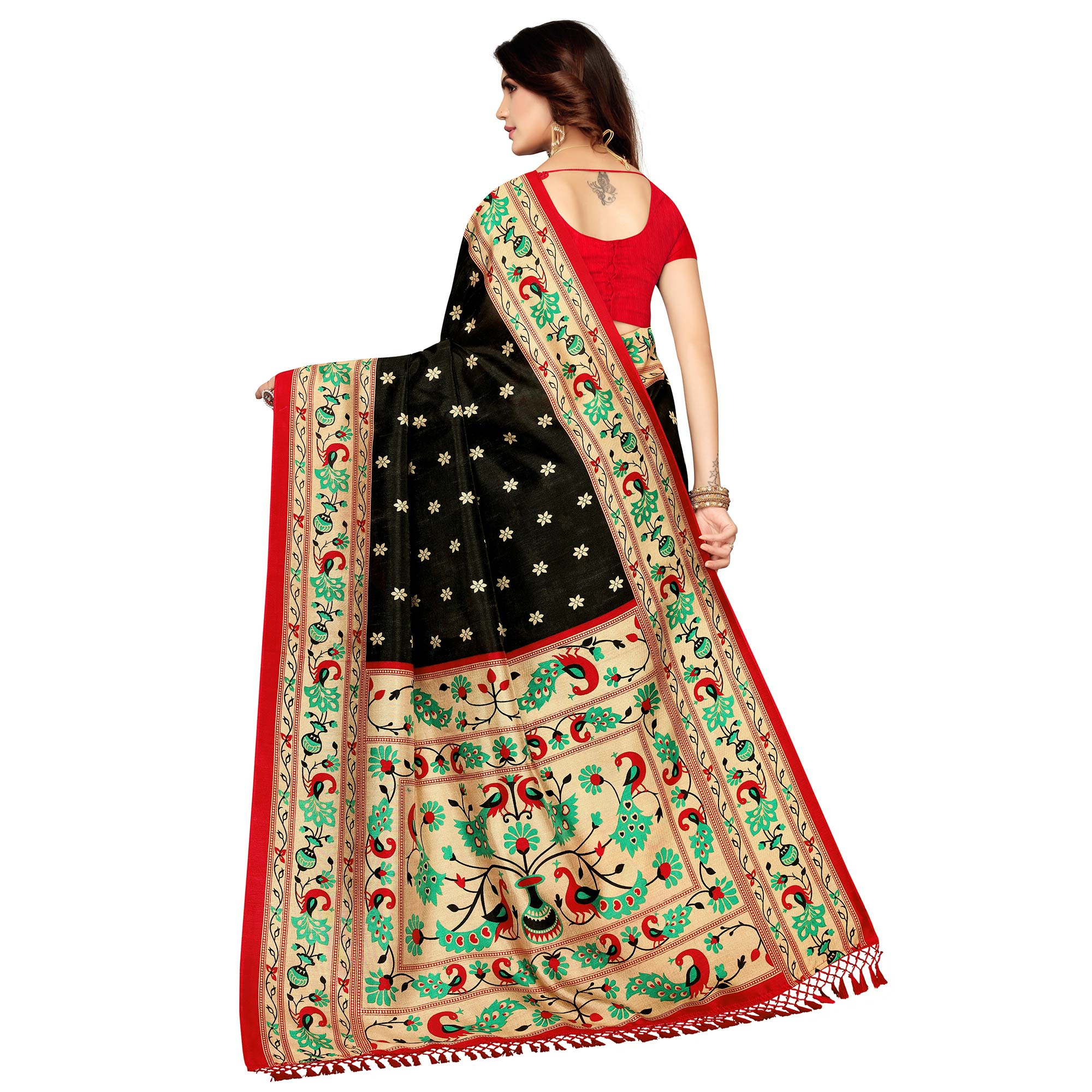 Delightful Black Colored Festive Wear Printed Zoya Silk Saree