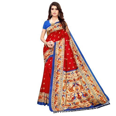 Engrossing Red Colored Festive Wear Printed Zoya Silk Saree
