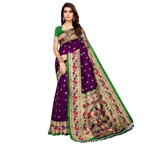 Captivating Purple Colored Festive Wear Printed Zoya Silk Saree