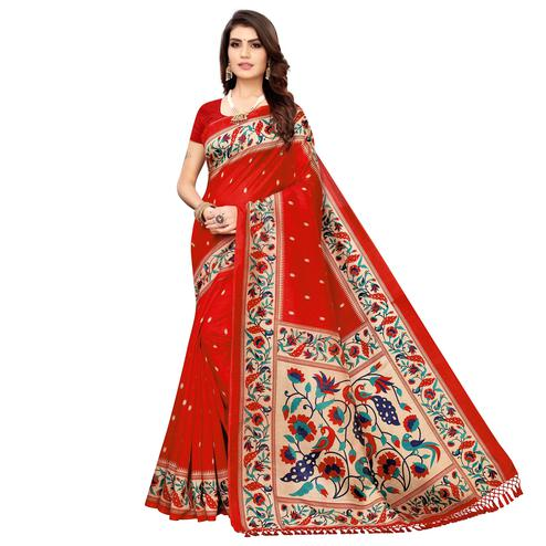 Innovative Red Colored Festive Wear Printed Zoya Silk Saree