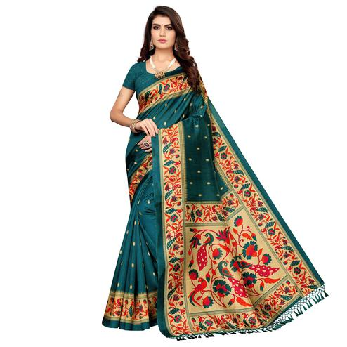Fantastic Teal Green Colored Festive Wear Printed Zoya Silk Saree