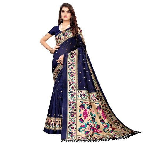 Amazing Navy Blue Colored Festive Wear Printed Zoya Silk Saree