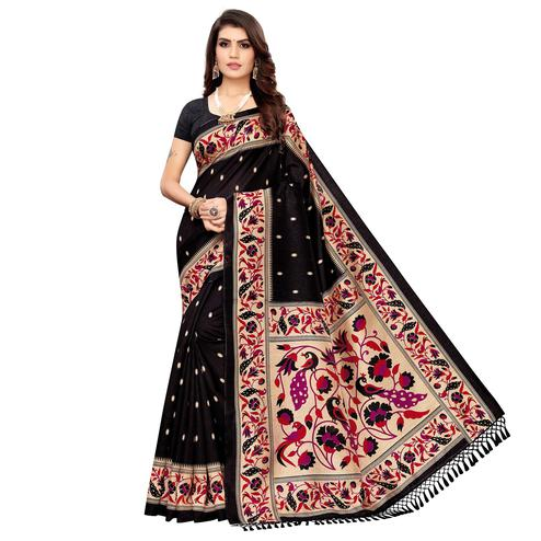 Gorgeous Black Colored Festive Wear Printed Zoya Silk Saree