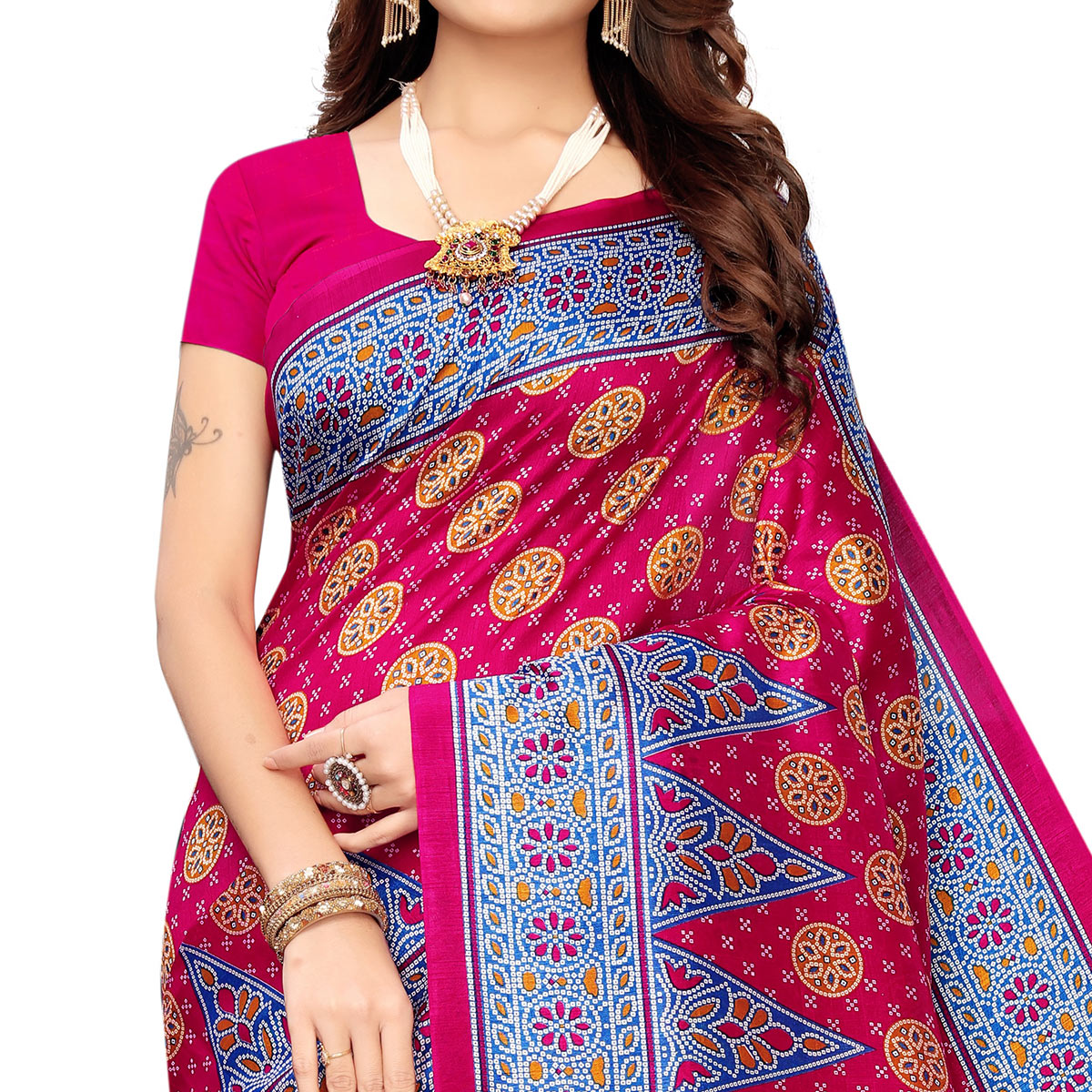 Blissful Pink Colored Festive Wear Printed Zoya Silk Saree