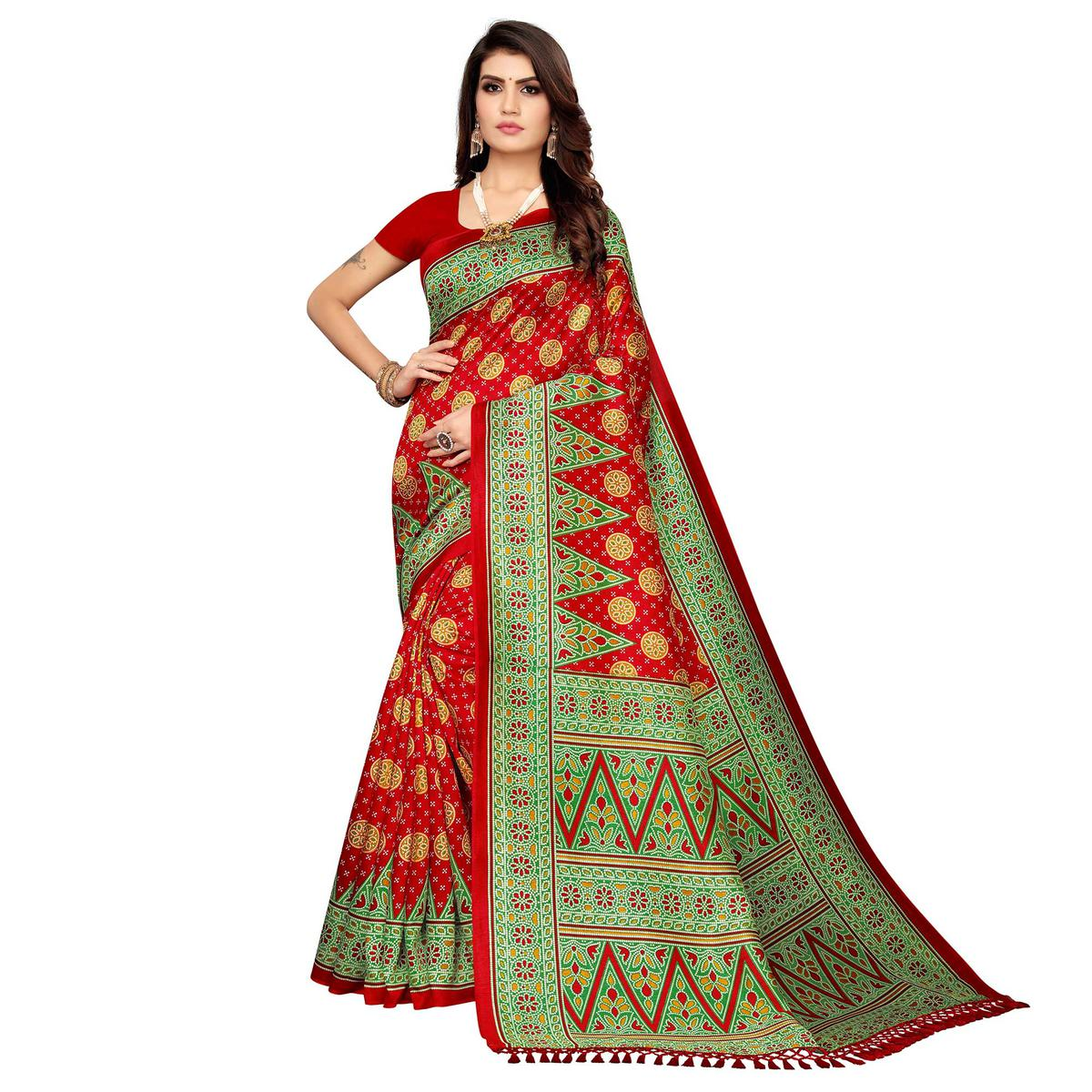 Ideal Red Colored Festive Wear Printed Zoya Silk Saree
