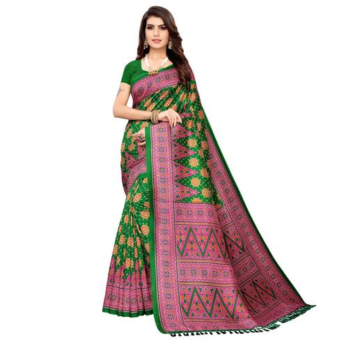 Imposing Green Colored Festive Wear Printed Zoya Silk Saree