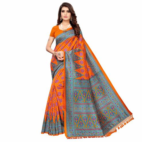 Lovely Orange Colored Festive Wear Printed Zoya Silk Saree