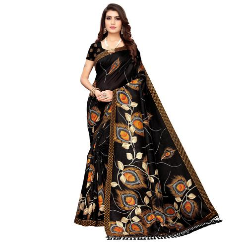 Majesty Black Colored Festive Wear Printed Zoya Silk Saree
