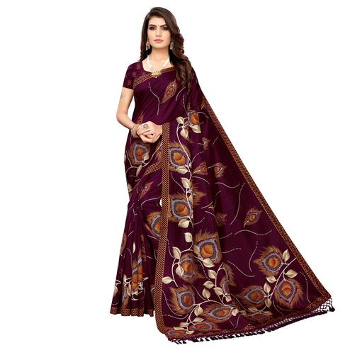 Impressive Wine Colored Festive Wear Printed Zoya Silk Saree
