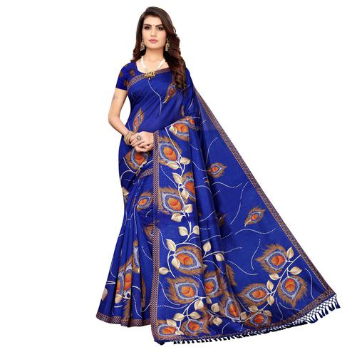 Mesmerising Blue Colored Festive Wear Printed Zoya Silk Saree