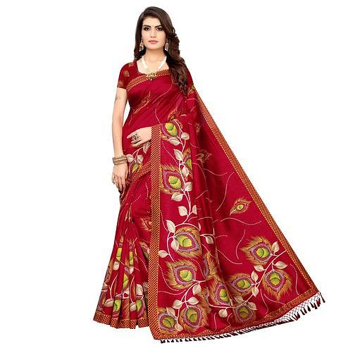 Pleasance Red Colored Festive Wear Printed Zoya Silk Saree