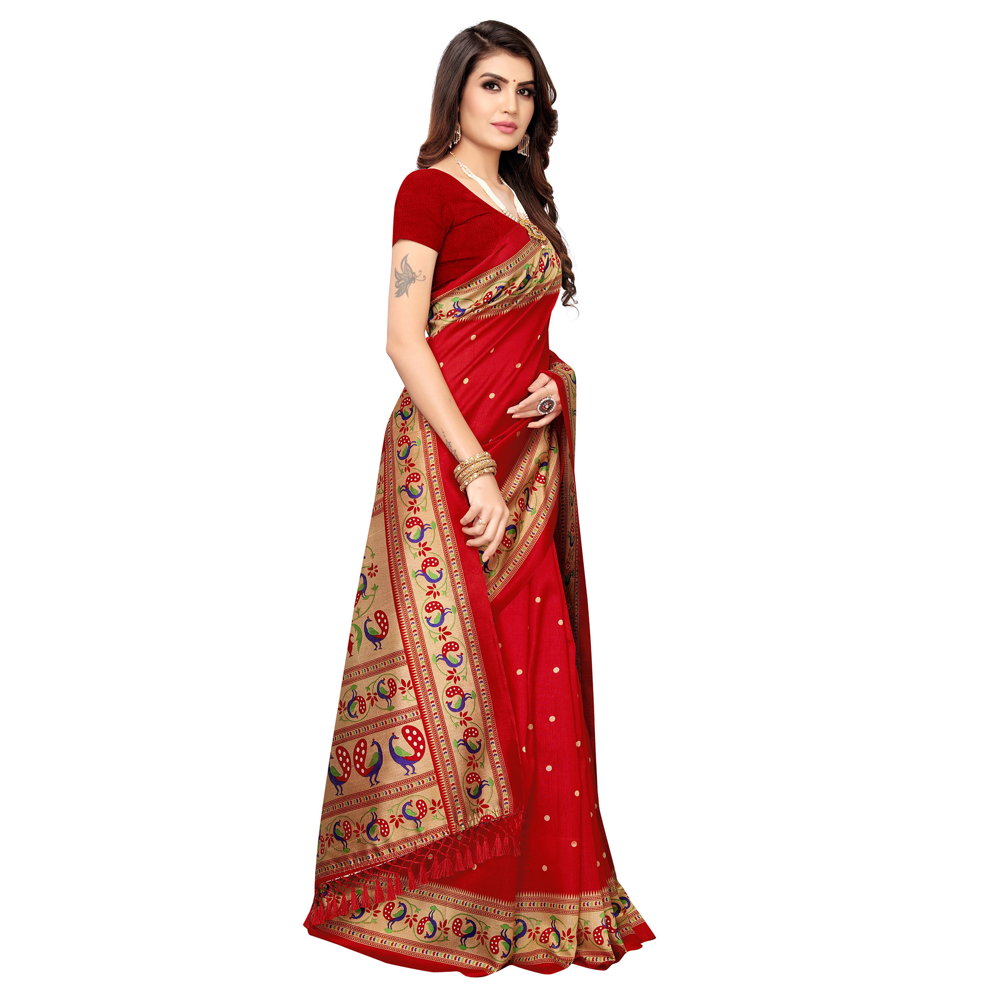 Staring Red Colored Festive Wear Printed Zoya Silk Saree