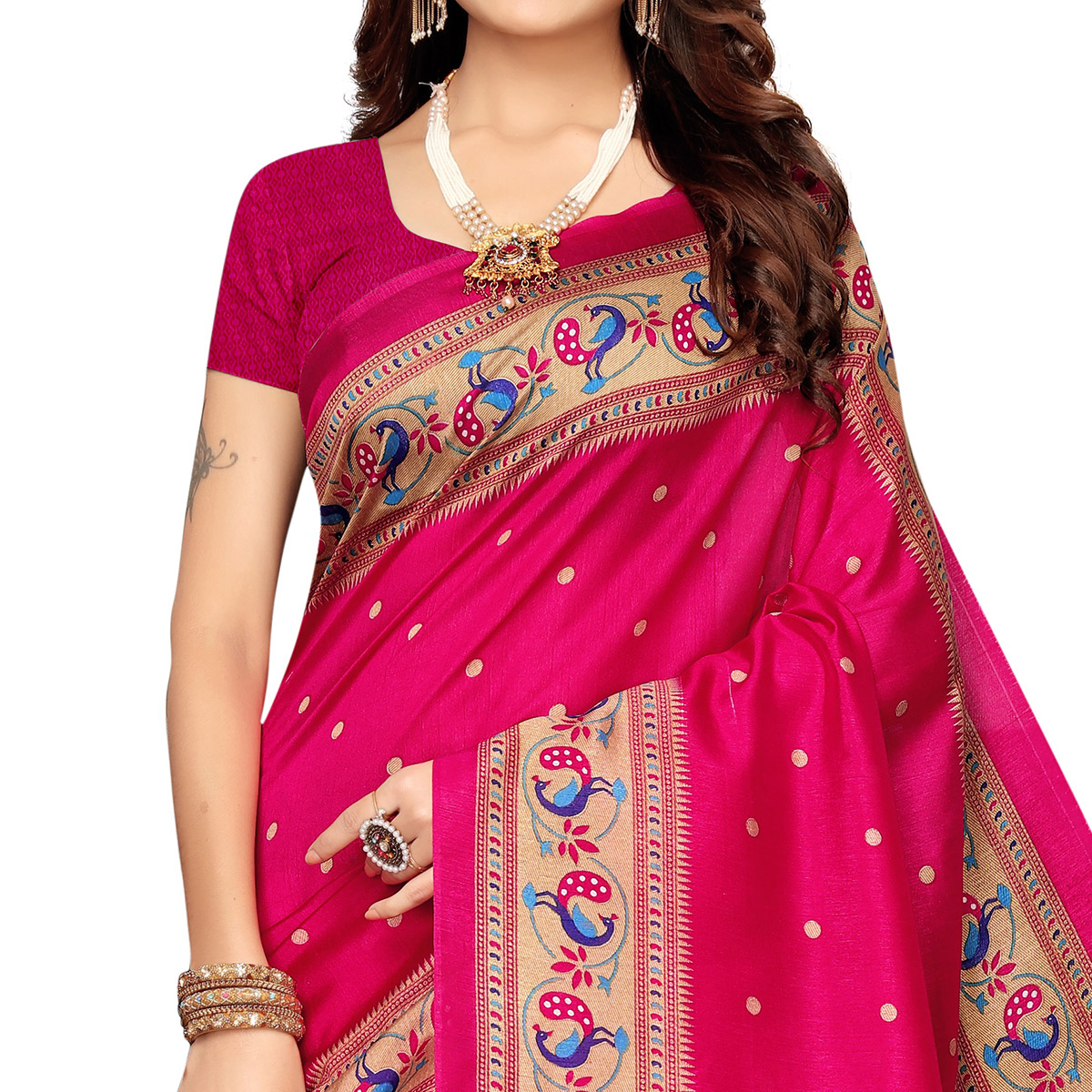 Dazzling Pink Colored Festive Wear Printed Zoya Silk Saree