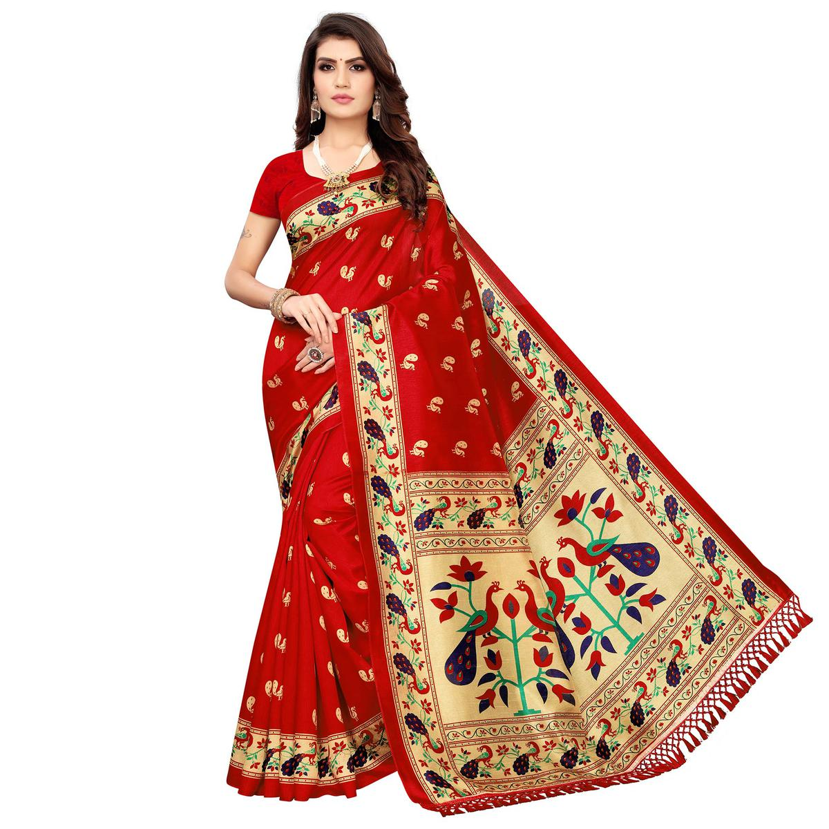 Attractive Red Colored Festive Wear Peacock Printed Zoya Silk Saree