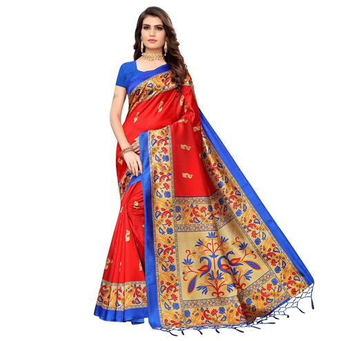 Blooming Red Colored Festive Wear Peacock Printed Zoya Silk Saree