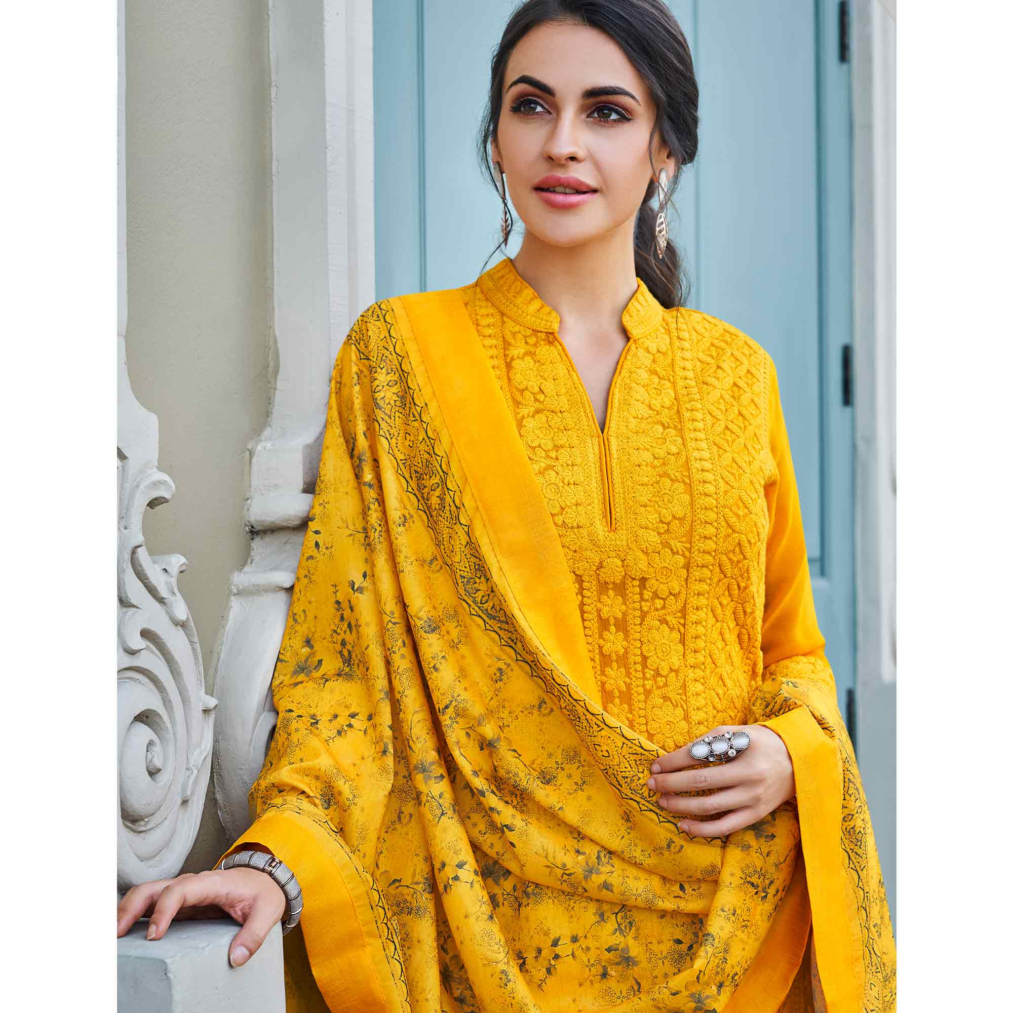 Energetic Mustard Yellow Colored Partywear Embroidered Georgette Lakhnavi Palazzo Suit