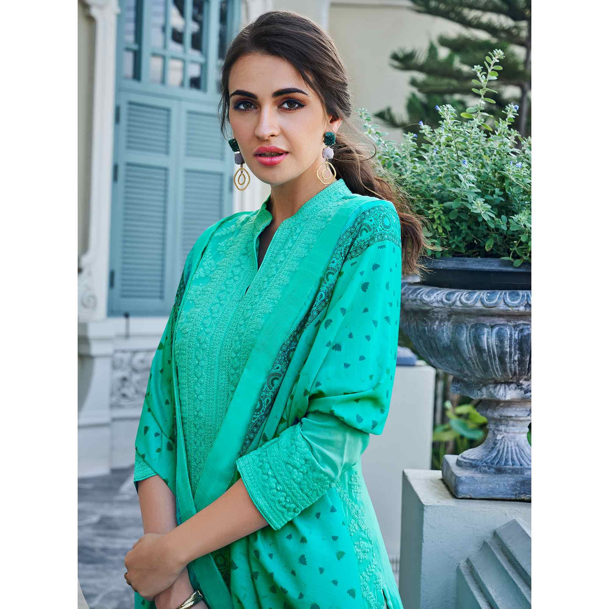 Exceptional Aqua Green Colored Partywear Embroidered Georgette Lakhnavi Palazzo Suit
