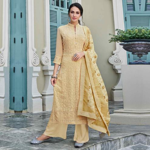 Gleaming Beige Colored Partywear Embroidered Georgette Lakhnavi Palazzo Suit