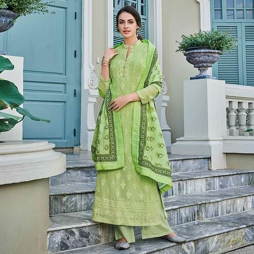 Mesmeric Pista Green Colored Partywear Embroidered Georgette Lakhnavi Palazzo Suit