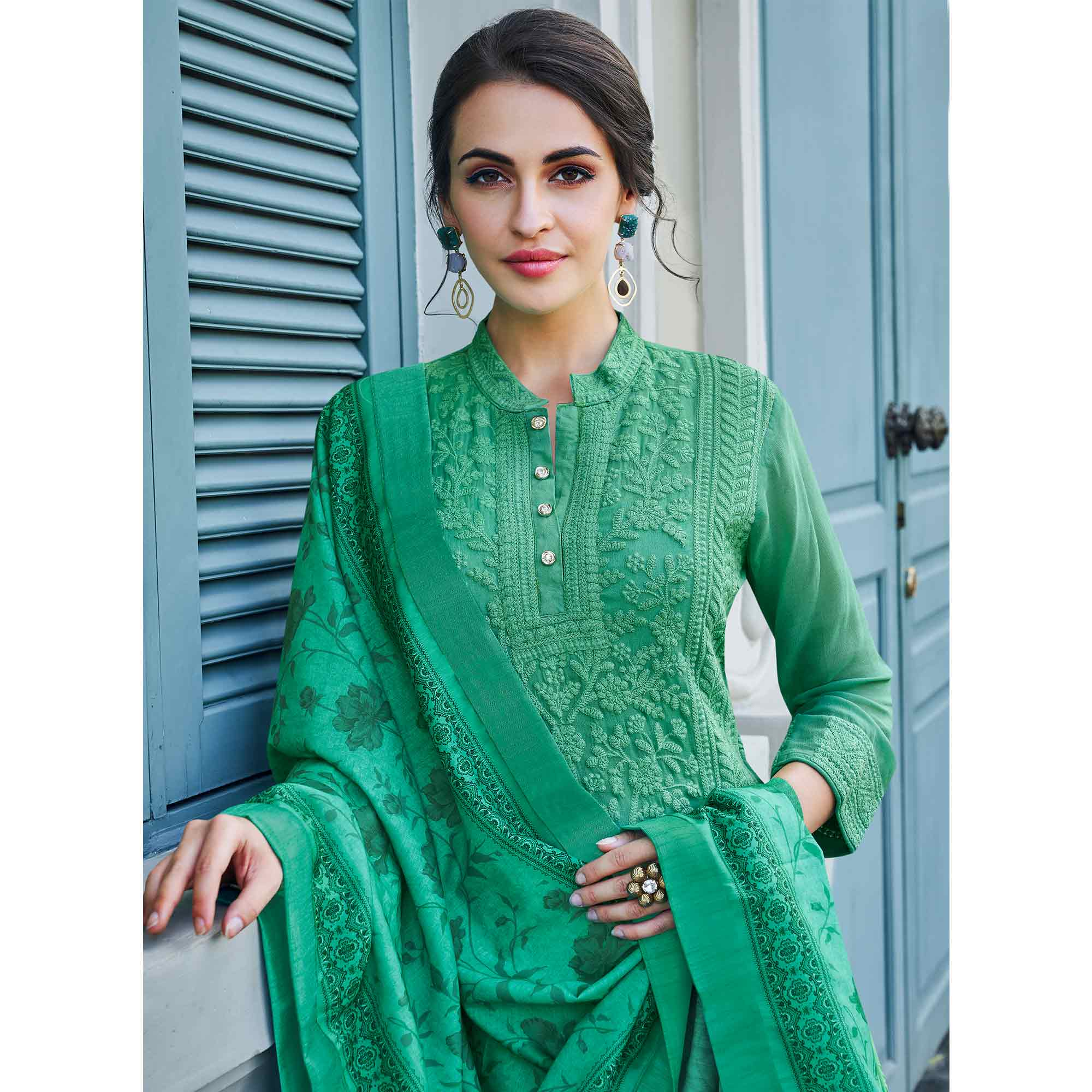 Unique Green Colored Partywear Embroidered Georgette Lakhnavi Palazzo Suit