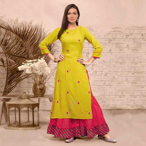 Intricate Lemon Yellow Colored Partywear Embroidered Rayon Kurti-Sharara Set