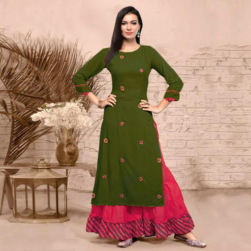 Arresting Dark Olive Green Colored Partywear Embroidered Rayon Kurti-Sharara Set