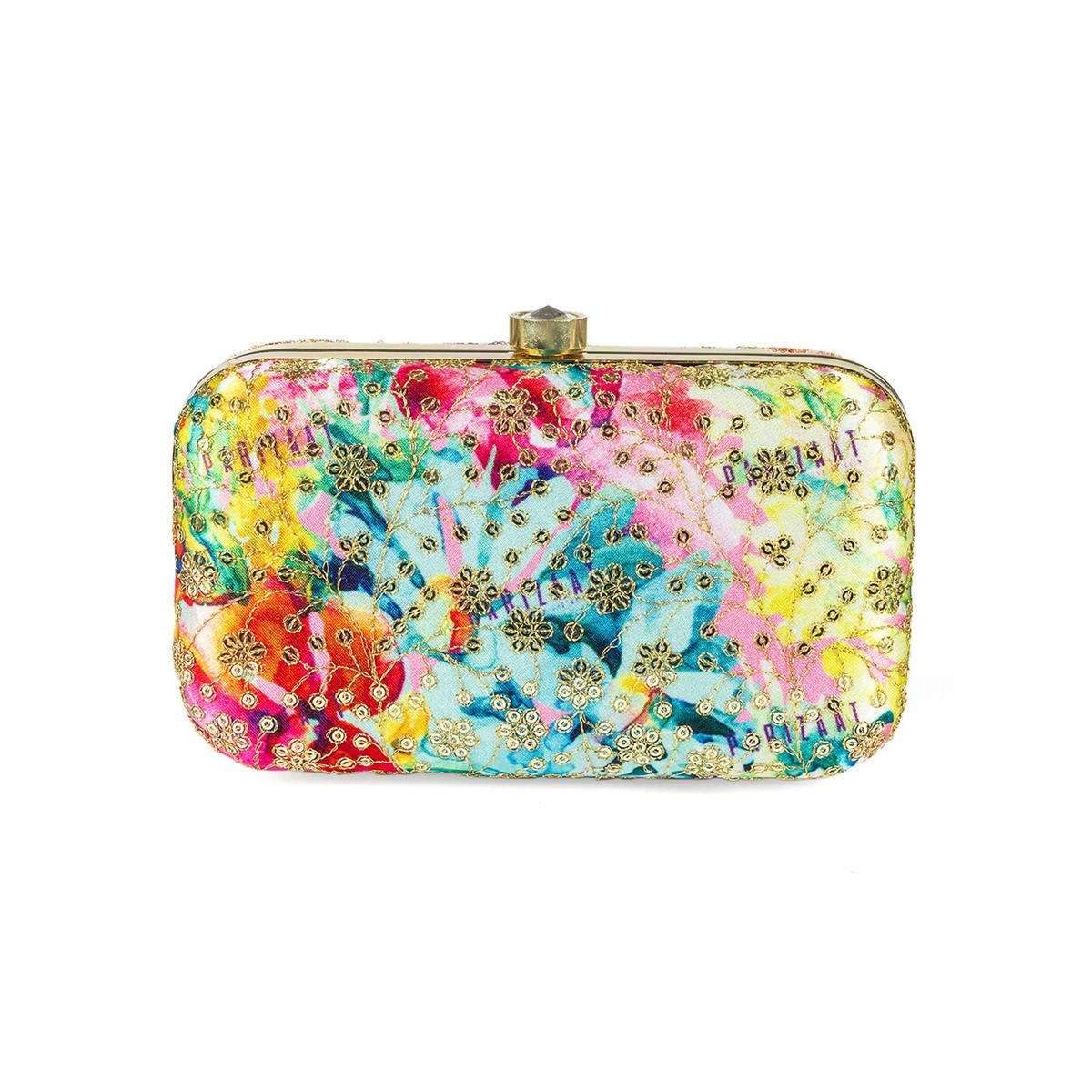 Adorable Multi Colored Handcrafted Partywear Sequin Embroidered Silk Clutch