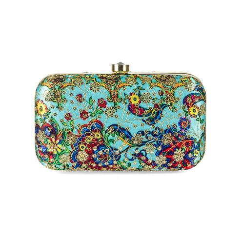 Beautiful Blue Colored Handcrafted Partywear Sequin Embroidered Silk Clutch