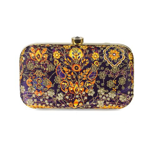 Jazzy Navy Blue-Yellow Colored Handcrafted Partywear Sequin Embroidered Silk Clutch