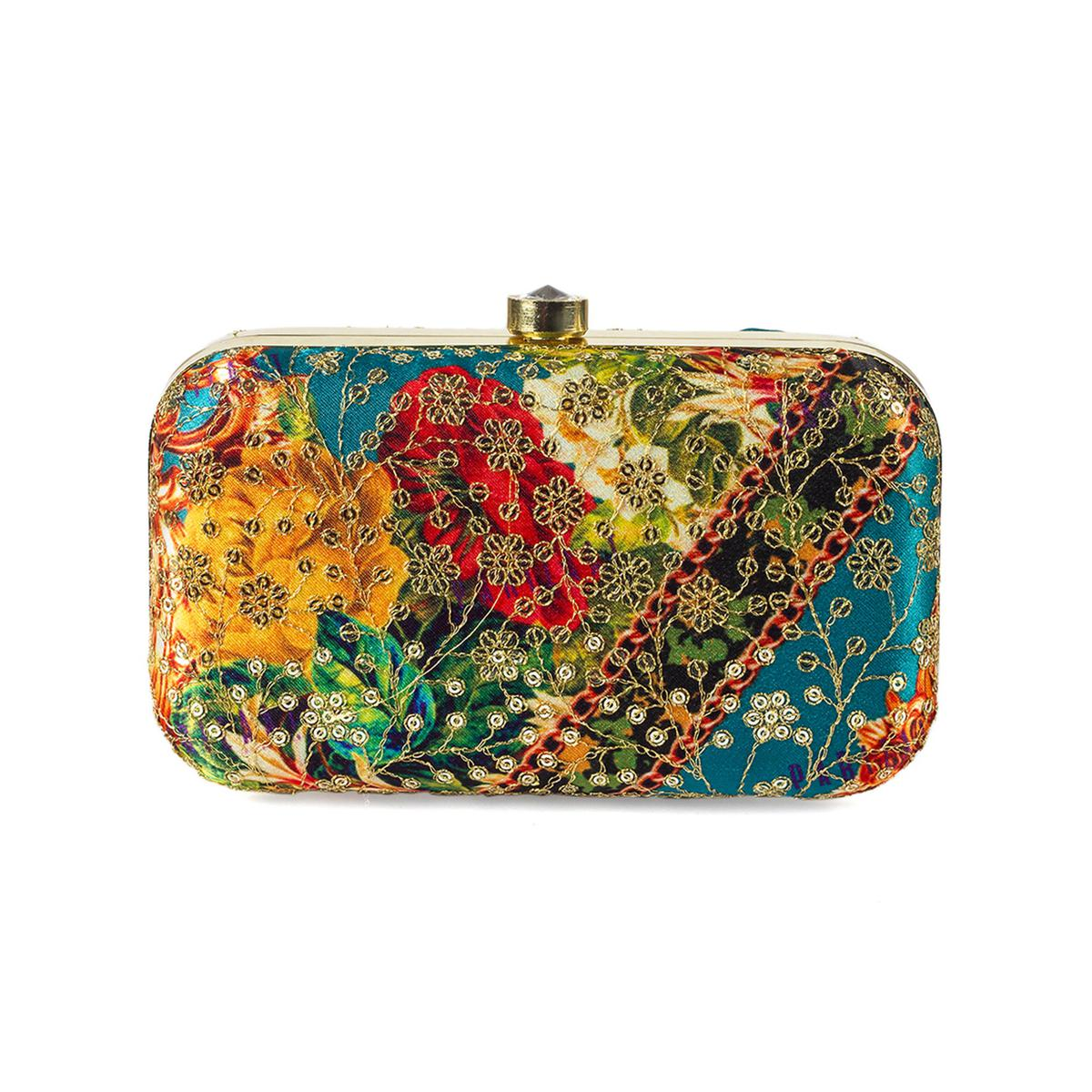 Innovative Teal Blue-Multi Colored Handcrafted Partywear Sequin Embroidered Silk Clutch