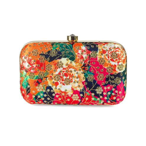 Blissful Multi Colored Handcrafted Partywear Sequin Embroidered Silk Clutch
